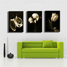 Modern Abstract Art Print Oil Painting Wall Decor On Canvas Flower No Frame 3PCS