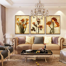 Gold Flower Home Decor Wall Art Oil Painting Print on Canvas No Frame 3PCS