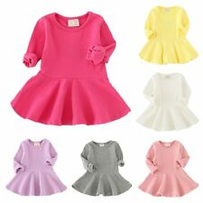 Baby Girls Long Sleeve Clothes Autumn Toddler Infant Party Wedding Ruffle Dress
