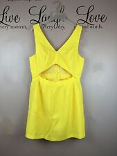 TOPSHOP Evening Sleeveless Summer Yellow Cut Out Short Dress - Womens Size UK 16