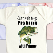"FISHING Family ""CAN'T WAIT TO GO FISHING WITH PAPAW"" Kids BASS FISHING SHIRT"