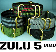 ZULU 5 RING NYLON GOLD HARDWARE MILITARY DIVER'S WATCH BAND STRAP 20mm/22mm/24mm