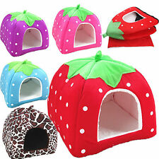 High Soft Strawberry Pet Dog Cat Bed House Kennel Puppy Warm Cushion Basket Pad