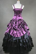 Violet Ruffled Satin Classic Elegant Lolita Dress #406 Costume Cosplay Halloween