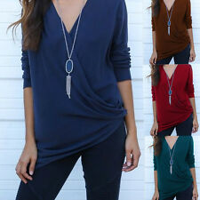 Fashion Women Casual V-Neck Long Sleeve Cotton Blend T Shirt Loose Tops Blouse