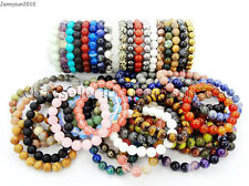 Natural Mixed Gemstone 10mm Round Beads Handmade Stretchy Bracelet Healing Reiki