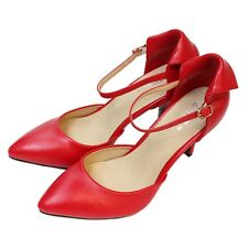 New Womens Pointed Toe Ankle Strap Pumps Mid Heels Sandals Genuine Leather Shoes