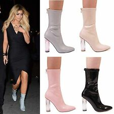 LADIES WOMENS PERSPEX HIGH HEEL ANKLE BOOTS ZIP UP FASHION CASUAL PARTY SHOES