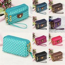 Women Handbag Wallet Coin Purse Money Phone Pocket Polka Dots Zipper Clutch EP