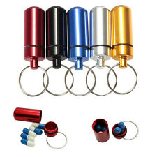 New Aluminum Waterproof Pill Case Medicine Container Box Capsule Holder Key Ring