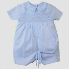 Petit Ami Baby Boys Romper Blue Smocked and Hat NWT Infant Sizes