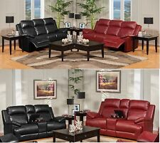 Casual Unique Polyester Leather Power Motion Sofa & Console Loveseat 2pc-Set NEW
