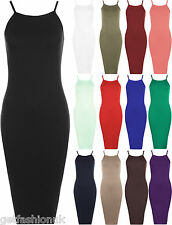 Womens Ladies Strap Cami Sleeveless Stretch Strappy Bodycon Midi Plain Dress Top