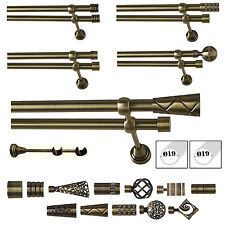 Double Curtain Pole / Rod Set 19mm Complete in Antique Brass Classic Support