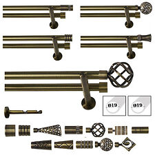 Double Curtain Pole / Rod Set 19mm Complete in Antique Brass Modern Support