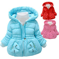 Baby Toddler Girls Winter Animal Fleece Jacket Kid Hooded Coat Outwear Clothing