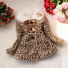 Kids Toddler Girls Faux Fur Leopard Winter Hoodies Jacket Coat Outerwear Parka