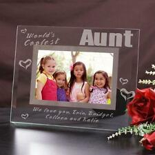 Personalized Aunt Glass Picture Frame Worlds Coolest Aunt Engraved Photo Frame