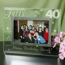 Personalized 40th Birthday Photo Frame Engraved Glass Birthday Picture Frame