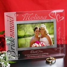 Personalized Bridesmaid Picture Frame Engraved Glass Photo Frame Bridesmaid Gift