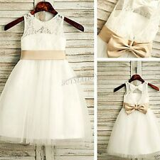 Baby Lace Tulle Flower Girl Dress Wedding Easter Junior Bridesmaid Baptism