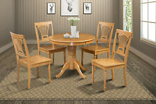 "42"" ROUND TABLE DINETTE KITCHEN DINING ROOM SET WITH PADDED CHAIRS IN OAK"