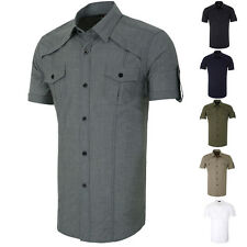 Mens Shirt Short sleeve Casual Work Blouse Dress Shirts Military Tops Formal