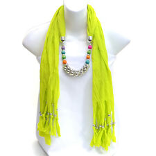 Interlocking Silver Tone and Wood Texture Beads Scarf with Beaded Fringe Scarf