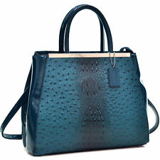 Dasein® Structured Ostrich Faux Leather Satchel with Shoulder Strap