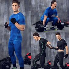 Men Short Sleeve Tops Tight Shirt Running Fitness Gym Compression Sport Clothes