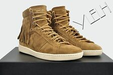 SAINT LAURENT 645$ Authentic SL/18H Signature Suede Brown Fringed Sneakers