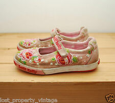 Lelli Kelly shoes size 29 UK 11 girls pink beaded flowers floral Velcro