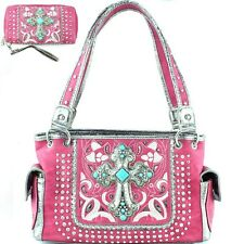 Concealed Carry Rhinestone Studded Cross Western Bag Purse With Matching Wallet