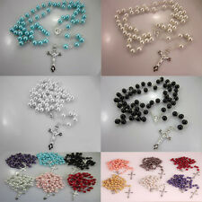 Long String Of Beads Imitation Pearl Pendant Necklace Beads Silver Chains peace