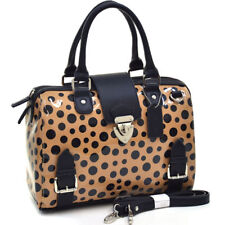 New Dasein Glossy Womens Handbags Leather Satchels Shoulder Bags Polka Dot Purse