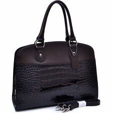 New Dasein Women Croco Leather Satchel Handbag Briefcase Tote Shoulder Bag Purse