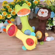 Animal Baby Kids Ring bell Plush Rattle Squeaker Rod Musical Development Toy