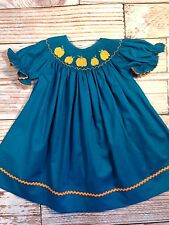 New Pumpkin Smocked bishop dress * 6m - 5 * Fall Halloween Thanksgiving boutique