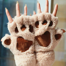 Women Soft Warm Winter Paw Gloves Fingerless Fluffy Bear Cat Plush Paw Chic