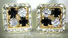 4 CORNER JET & CLEAR CRYSTAL CUFFLINKS MADE WITH SWAROVSKI CRYSTALS