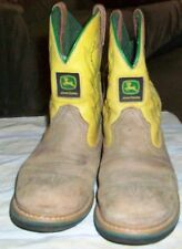 John Deere Youth Cowboy Boots Size 3.5 M JD3182 Faux LEATHER LIGHT BROWN, YELLOW