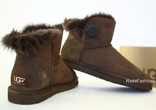 UGG Australia Mini Bailey Button Boots Chocolate Fur Sheepskin Winter 5 NIB
