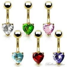 Belly Ring Gold Heart Banana Navel Piercing Stud Crystal