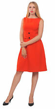 RED WOMEN CLASSY VINTAGE 1950S 1960S DRESS SLEEVELESS WORK OFFICE A LINE DRESSES