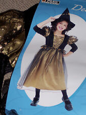 Witch costume,girls' size 7-8 or 10-12, black & gold dress & hat,Halloween