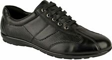 Mens faux leather lace up casual gym sport walking running driving trainers shoe