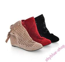 Womens New Faux Suede Hollow Out Wedge Heels Ankle Boots Summer Sandals AU Size