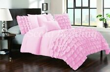 All Size New Waterfall Half Ruffle Duvet Cover Set Pink 1000TC Egyptian cotton