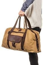 NEW Duffle Bag Vegan Leather and Canvas Khaki PX Carry On Luggage - Weekender