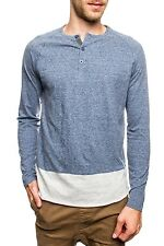 NEW Mens Blue Long Sleeve Cut and Sew Contrast PX Henley Shirt
